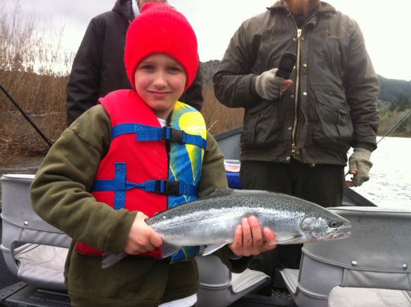 Marly's first ever steelhead, hatchery fish from Chetco.