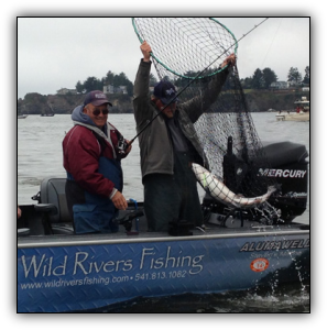 45-pound salmon from the Chetco River near Brookings, Oregon, caught with guide Andy Martin of Wild Rivers Fishing.