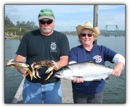 Salmon fishing and crabbing on the Coquille Bay in Bandon, Oregon.