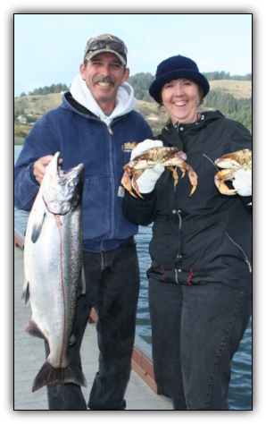 Rogue River salmon fishing and crabbing combos - guides fishing trips with Wild Rivers Fishing