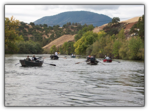 Drift boat fishing for fall salmon on the Klamath River. We target these hard-fighting fish near Hornbrook, California, from mid-September through late October. During the peak season, it's common to catch 20 fish or more a person.