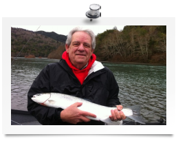 Dan Eye with a Chetco River winter steelhead caught with guide Andy Martin.