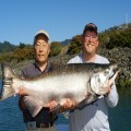 Haw Tan and guide Andy Martin with a 47 pound Chetco estuary king, 2011.