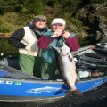 Sam and Nancy with a chromer from the Upper Chetco, 2011.